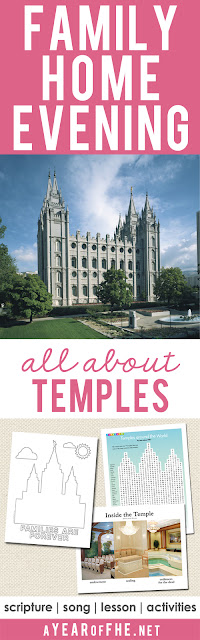 A Year of FHE // Your family will love this Family Home Evening lesson all about LDS Temples! It includes a poster download, and an activity for small children as well as one for older kids and teens! YOur FHE is all planned...just CLICK, PRINT, and TEACH! #lds #temples