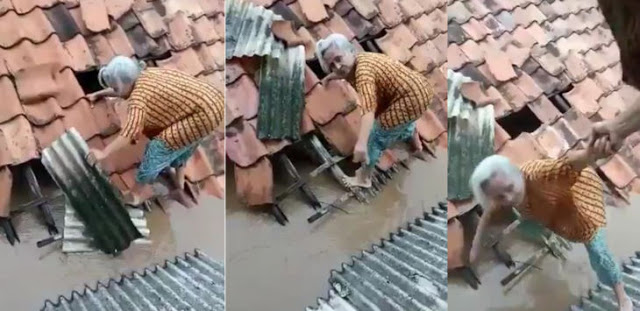 Video Nenek Naik Genteng Selamatkan Diri dari Banjir Jakarta