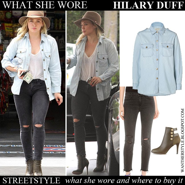 What She Wore Hilary Duff In Blue Denim Shirt With Grey Ripped