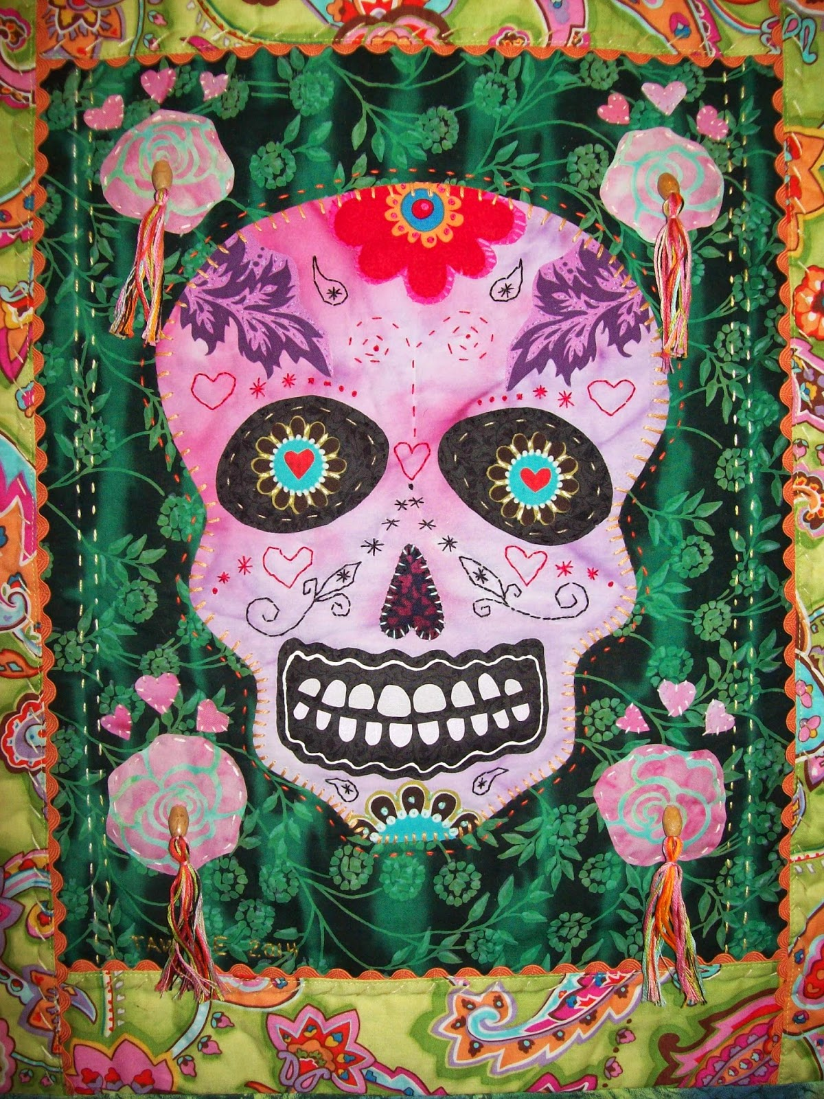 Cooler Quilts Day Of The Dead Sugar Skulls Art Quilts