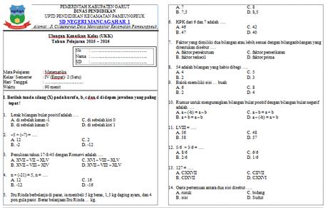 Soal UKK Matematika Kelas 4 (Empat)