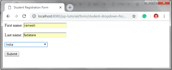 How to create student registration form in html code