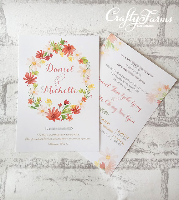 Peach Romance Floral Wedding Card Printing