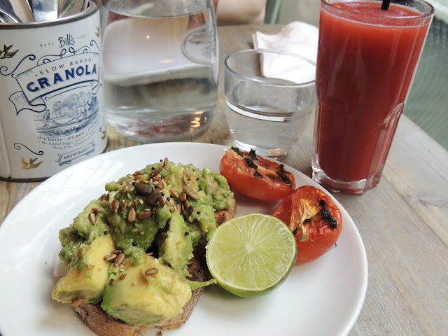 Bill's avocado on toast with watermelon, peach and raspberry juice.