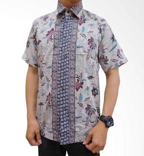 baju batik pria warna abu-abu