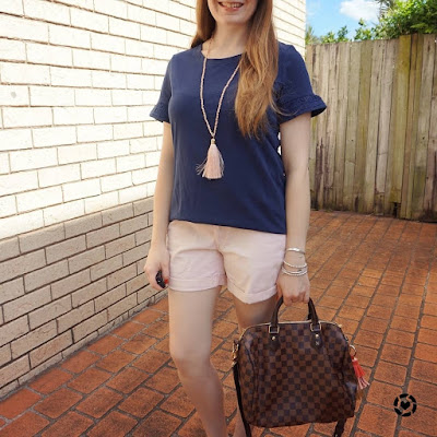 awayfromblue isntagram | Jeanswest Ruby frill sleeve Ric Rac detailed tee in deep iris with blush pink cotton shorts tassel necklace Louis Vuitton speedy