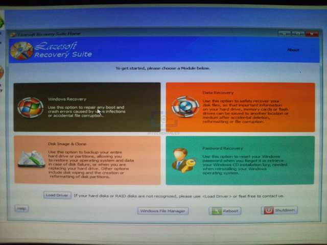Lazesoft live cd main menu