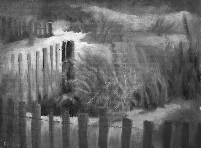 focusing with value study of beach fence Feb-5-2019 greyscale