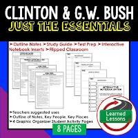 Clinton & Bush,  American History Outline Notes, American History Test Prep, American History Test Review, American History Study Guide, American History Summer School, American History Unit Reviews, American History Interactive Notebook Inserts