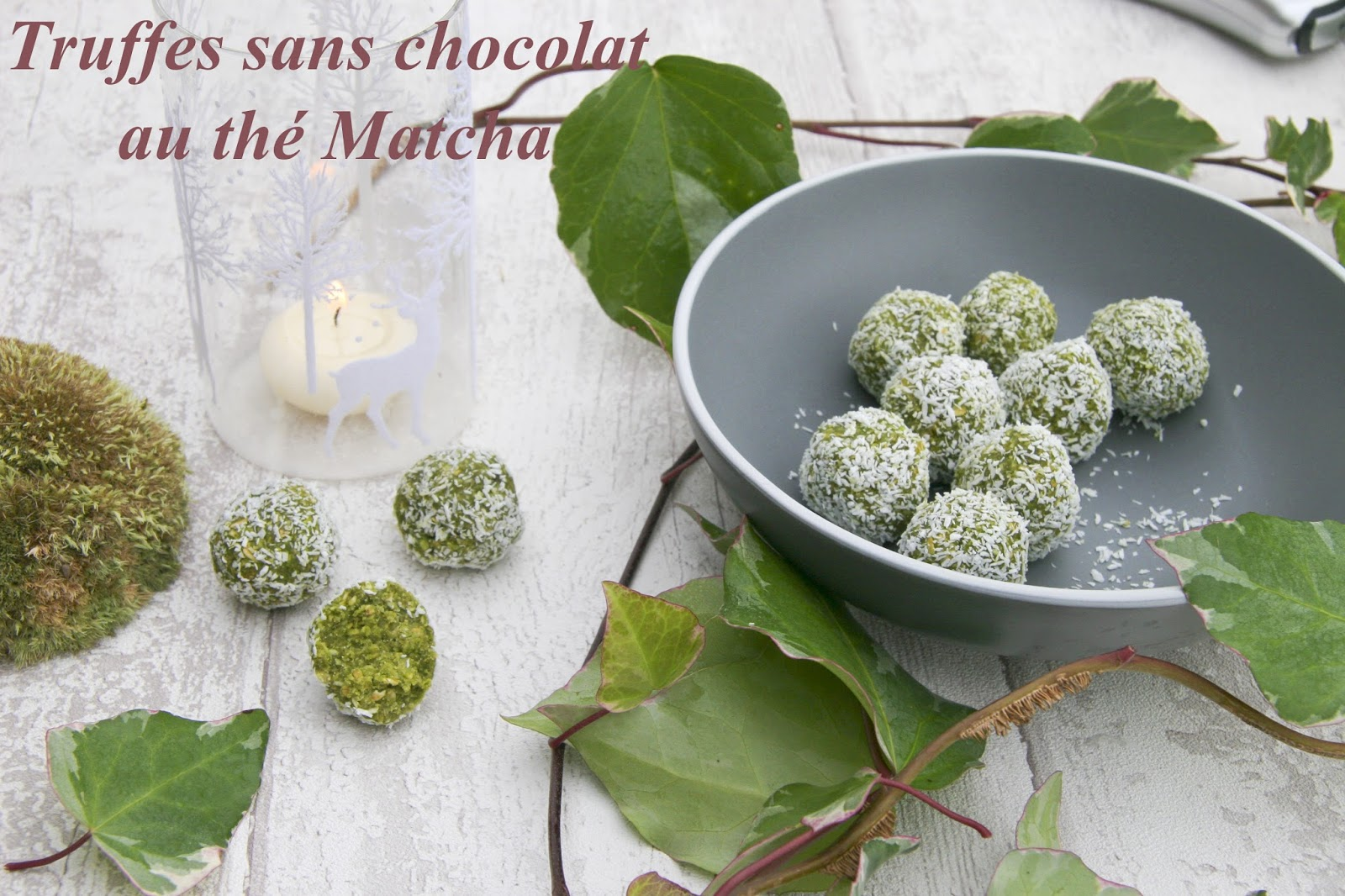 truffes sans chocolat au th matcha. Black Bedroom Furniture Sets. Home Design Ideas