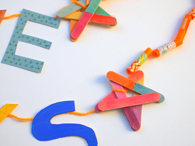 Popsicle Stick Stars- Painted with watercolors