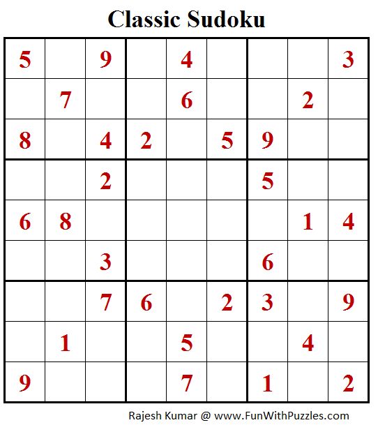 Classic Sudoku Puzzle (Fun With Sudoku #254)