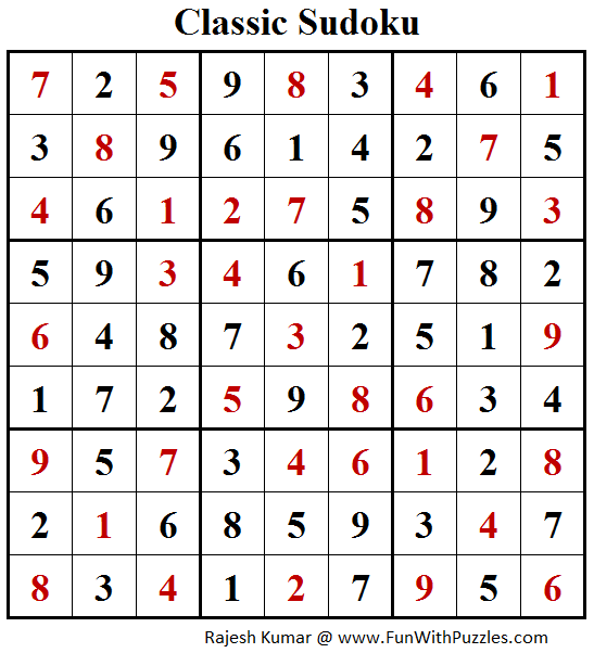 Classic Sudoku Puzzle (Fun With Sudoku #203) Solution