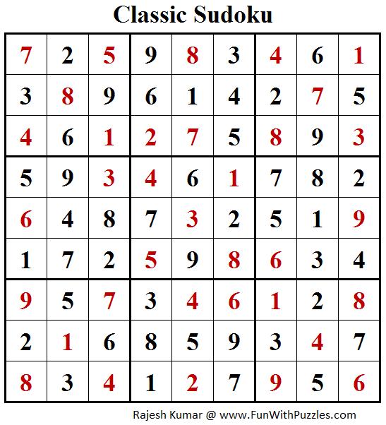 Classic Sudoku Puzzle (Fun With Sudoku #203) Solution