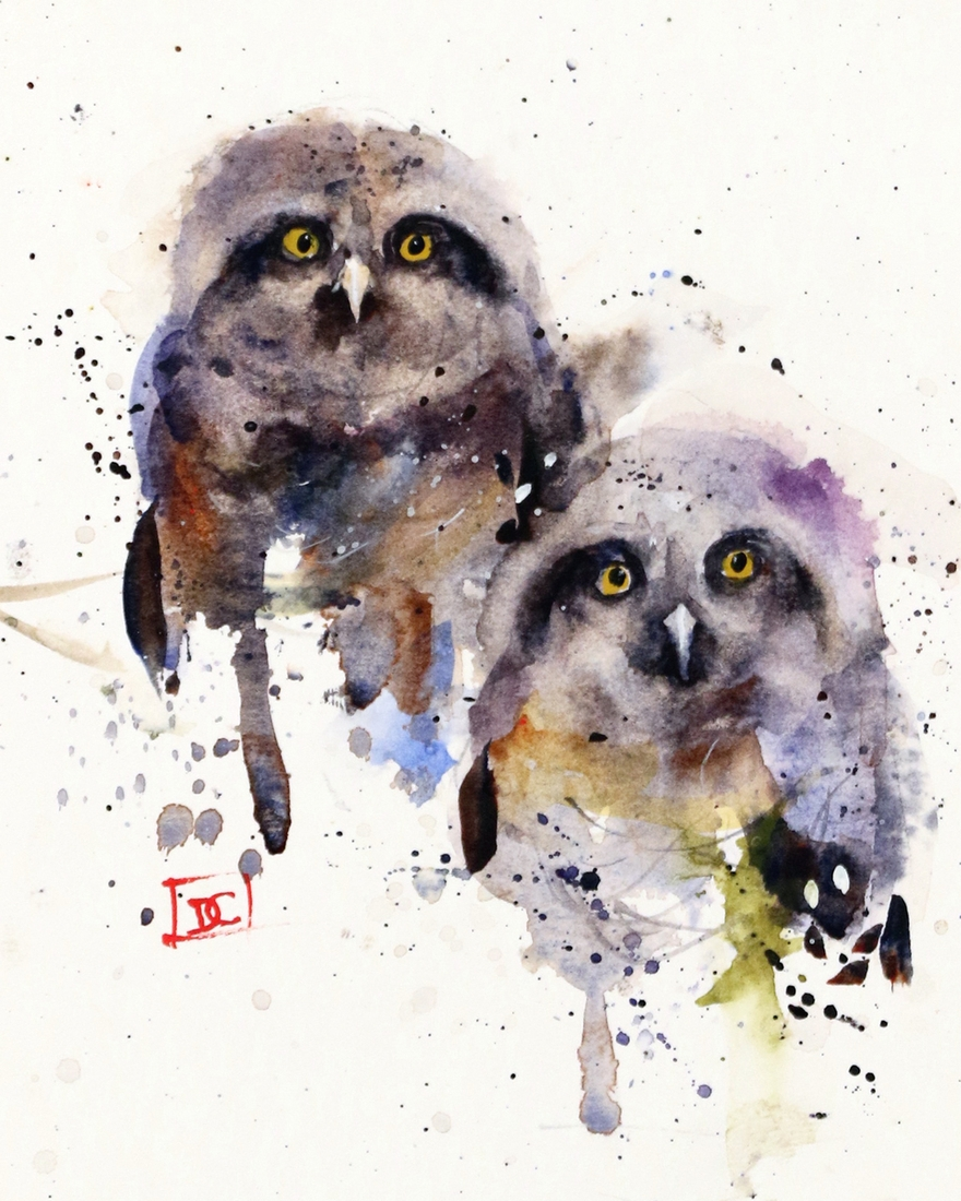 11-Owlets-Owls-Dean-Crouser-A-Love-of-the-Outdoors-Spawns-Animal-Watercolor-Paintings-www-designstack-co