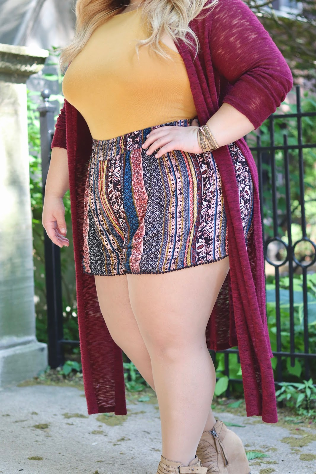 boho chic, plus size shorts, affordable plus size clothes, natalie craig, natalie in the city, Chicago fashion blogger, plus size blogger, Chicago plus size, fatshion, curves and confidence, midwest style, plus size summer outfits, how to stop chub rub, chub rub, stitch fix, forever 21 plus, bodysuits, plus size bodysuits