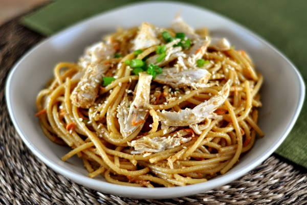 Pasta with Chicken Sesame Peanut Sauce Recipe