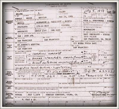 Helen A Orloff death certificate