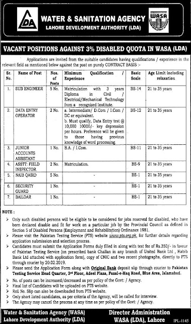 Water And Sanitation Agency WASA Latest Jobs 2019 In Lahore
