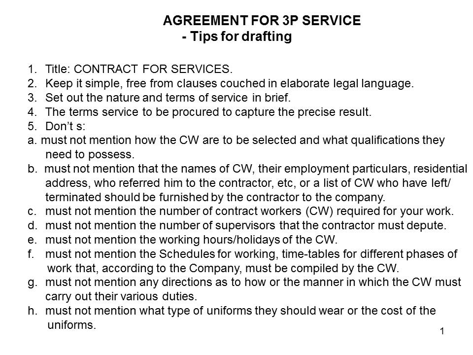 Contract Labour - Tips for 3P Service Agreement Law Shastra - agreement for labour contract