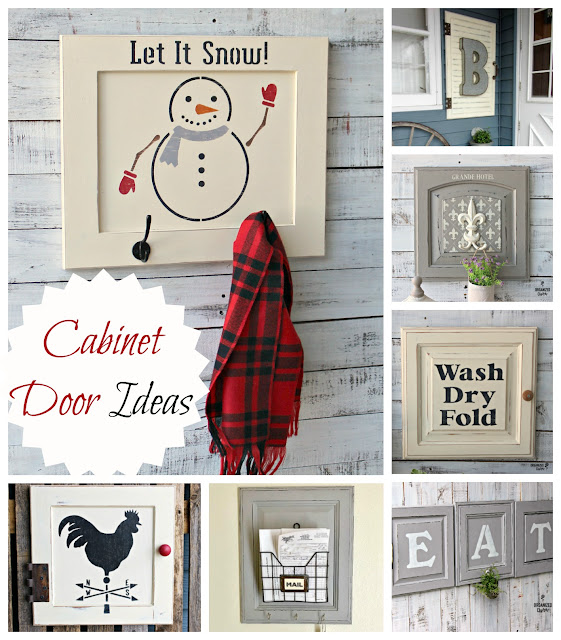 Cabinet Door Projects #stencil #repurpose #upcycle #chalkedpaint #farmhouse #Easter #Winter #laundryroom