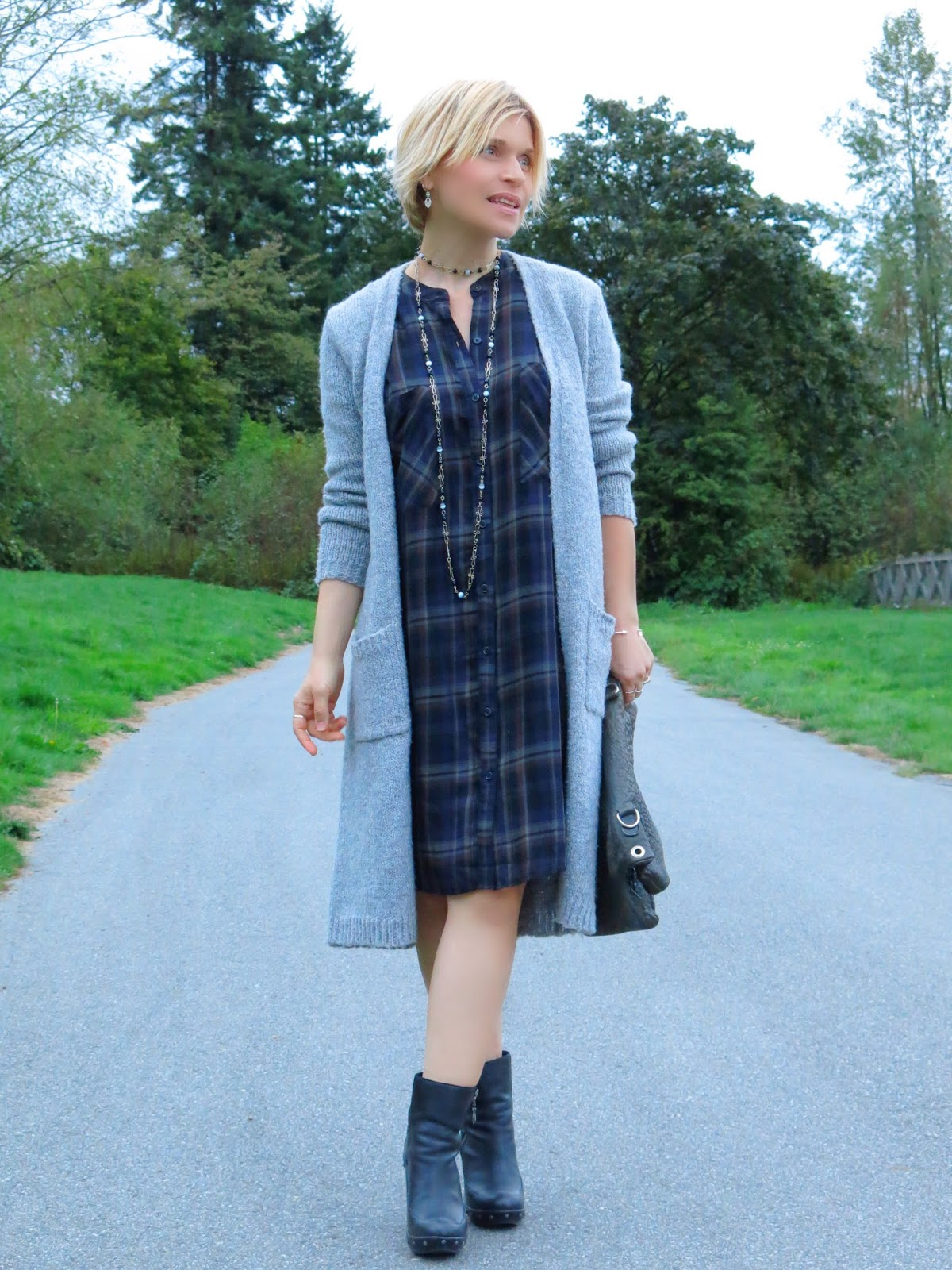 Almost set:  plaid shirtdress, long cardigan, and chunky booties