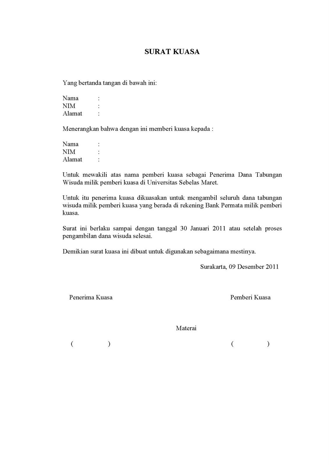 Contoh Surat Memberi Kuasa Kepada Wakil