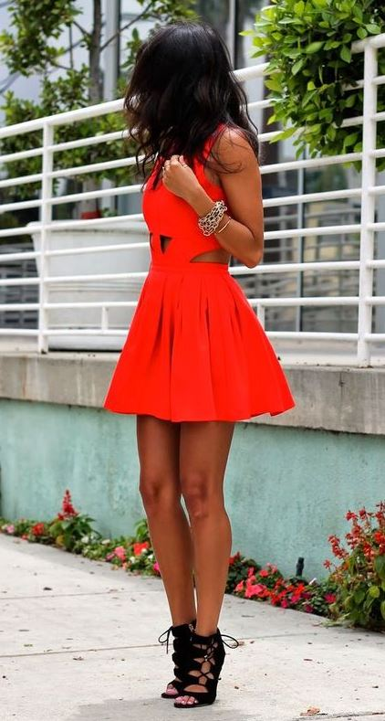 awesome outfit / red mini dress and black lace up heels