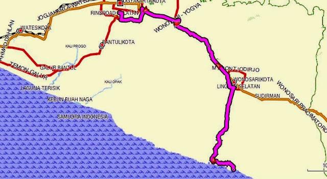 Arah Yogyakarta via Wonosari melewati Bukit Bintang (ditandai bendera merah di peta kordinat S7.84591 E110.47965)