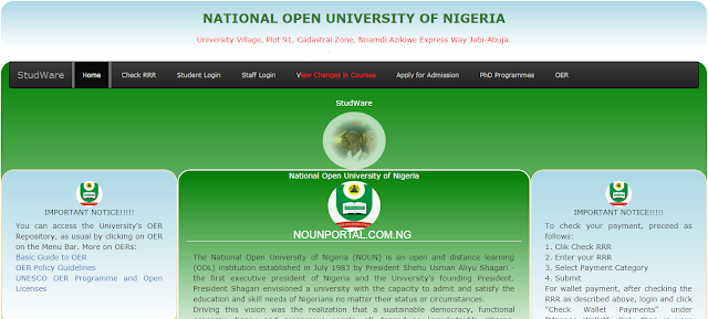 National Open University of Nigeria Admission Homepage NOUOnline.NET