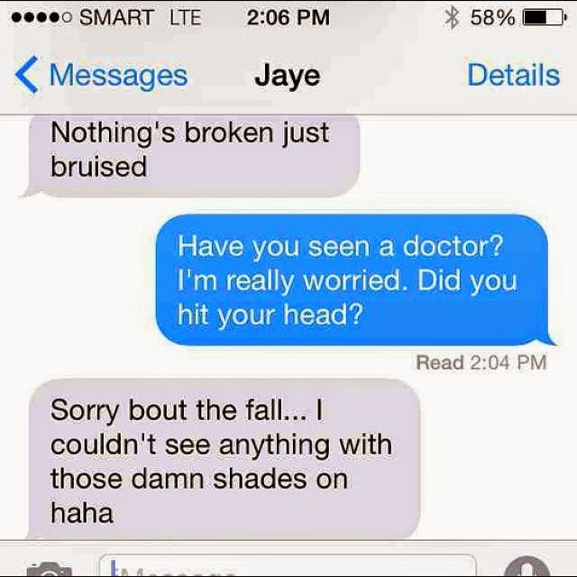 james reid text after getting bruised