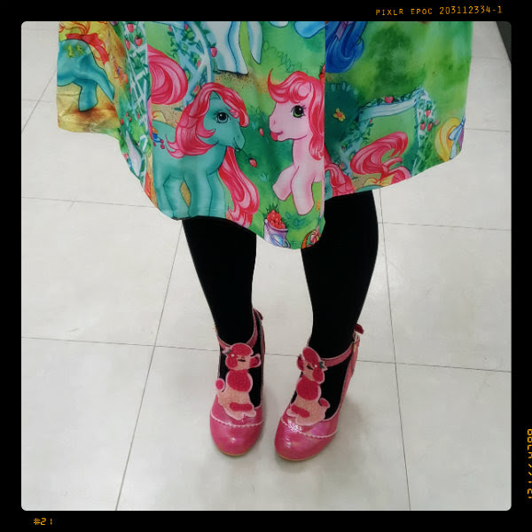 wearing iron fist my little pony dress and irregular choice pretty poodle shoes