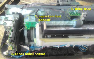 Mengganti sensor penarik kertas cara mengatasi Printer Canon IP2770 Lampu Kuning Berkedip 3x