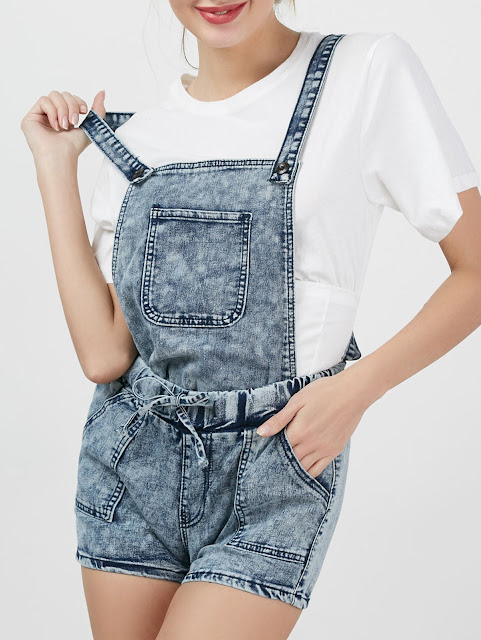 Bleach Wash Denim Romper