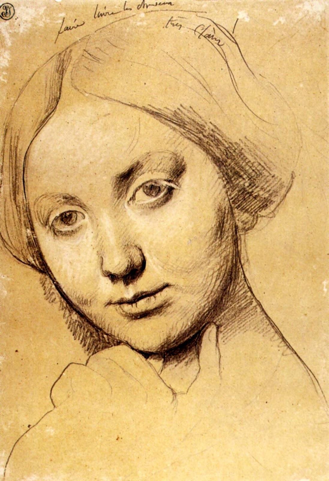 ドミニク・アングルのドーソンヴィル伯爵夫人の肖像の顔のデッサン