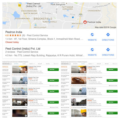 """Search results for the query """"pest control in ohsoawsomeville"""" in Google and JustDial"""