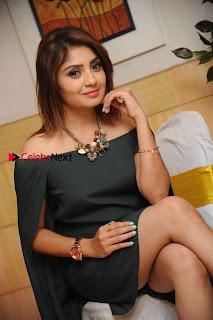 Kannada Actress Karunya Ram Stills in Strapless Green Short Dress at Eradu Kanasu Movie Press Meet  0003.jpg