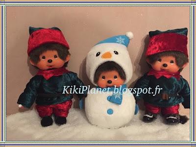 costume de lutin pour Kiki ou Monchhichi, lutins de Noël, couture, fait main, handmade