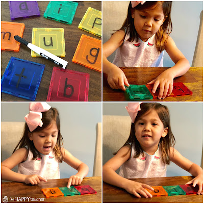 Building CVC words with magnetic tiles