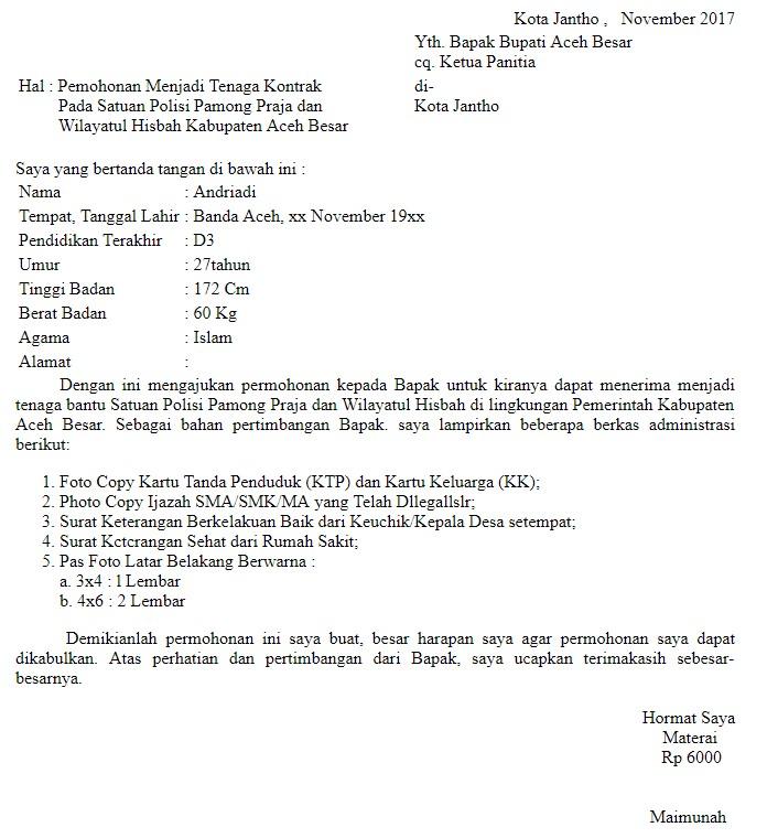 Surat Permohonan Menjadi Tenaga Kontrak Satpol PP dan WH