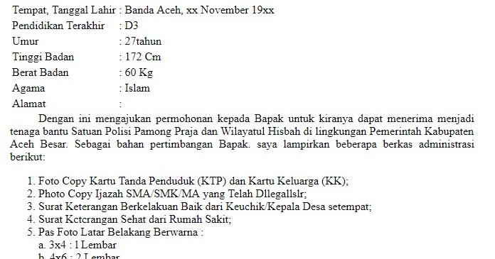 Contoh Surat Lamaran Satpol Pp Berau Download Kumpulan Gambar