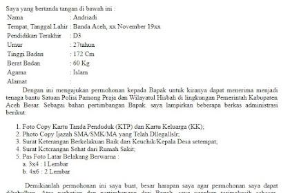 Surat Lamaran Menjadi Tenaga Kontrak Satpol PP dan WH di Kab.Aceh Besar