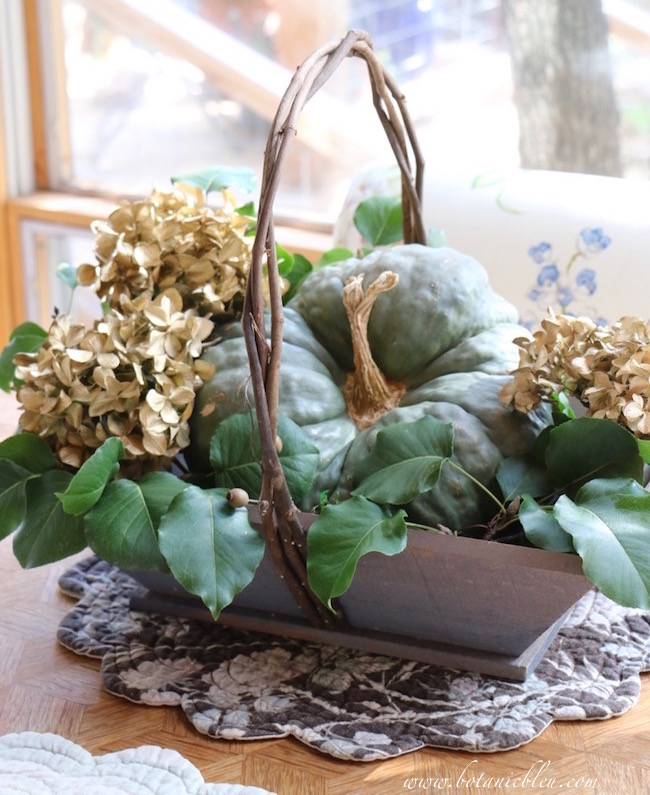 rustic-fall-basket-green-pumpkin-gold-hydrangea