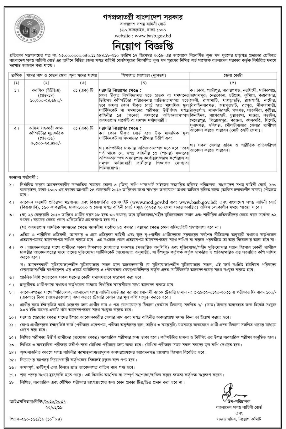 Bangladesh Armed Services Board (BASB) Job Circular 2019