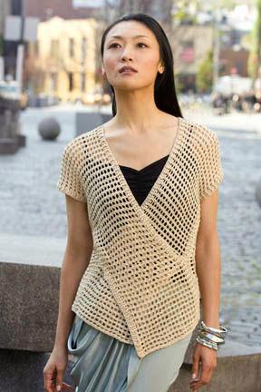 chaleco, crochet, punto tunecino, mujer, chaleco cruzado