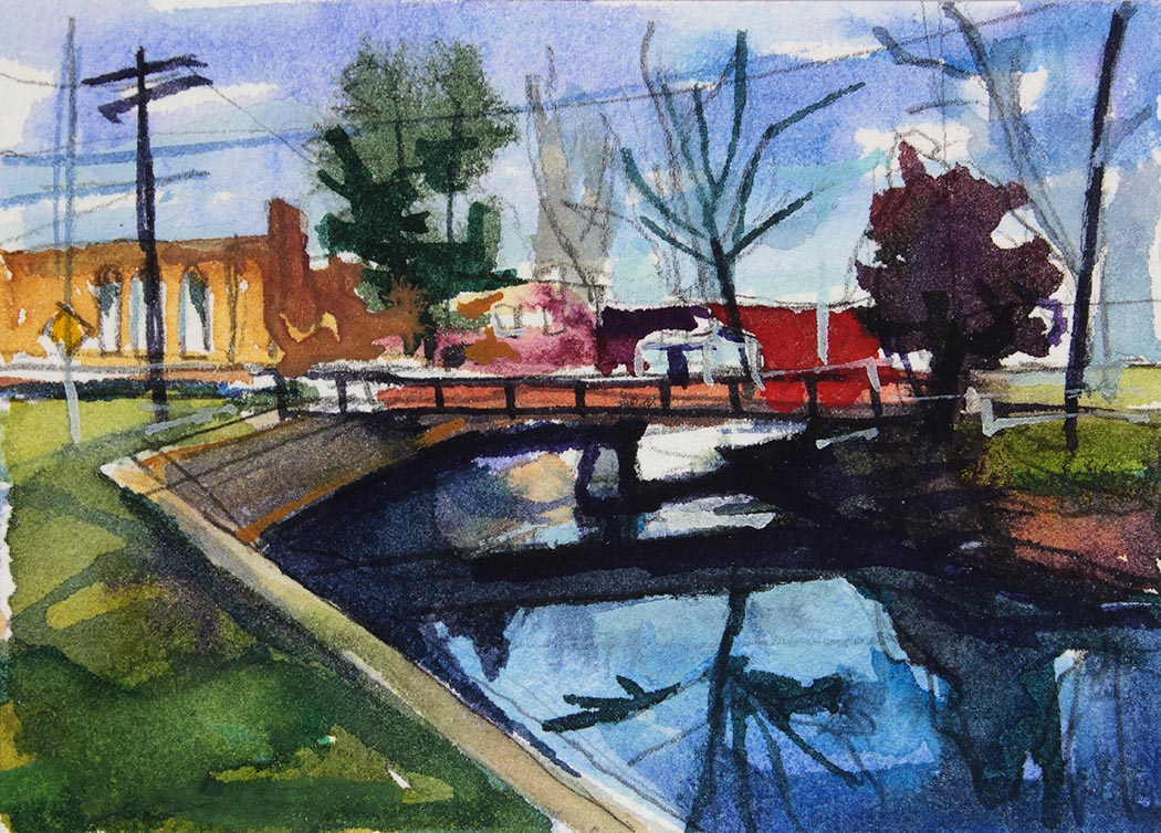 Watercolor painting of Island Park in Williamsville NY