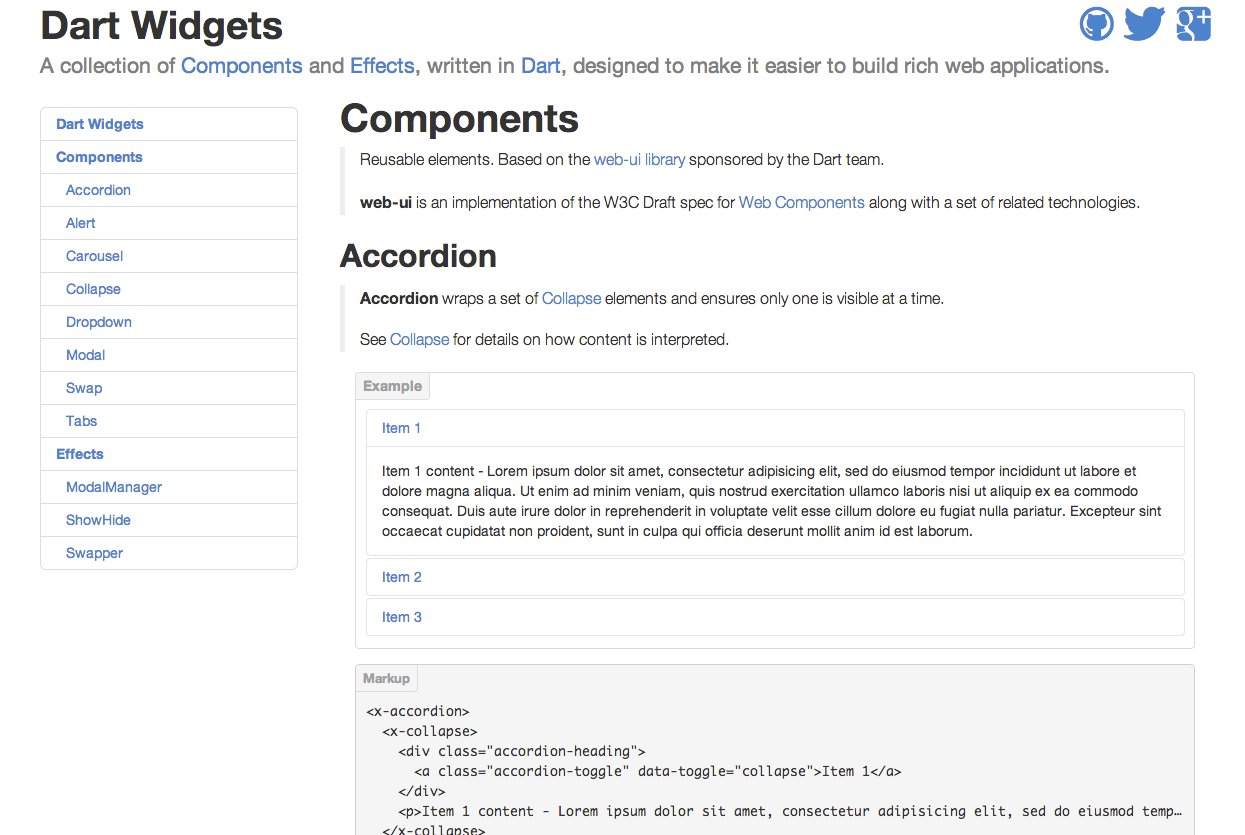 Bootstrap Widgets Ported to Web Components with Dart Web UI