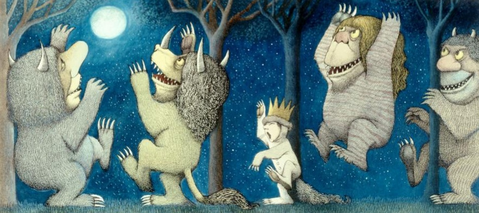 A young boy in a wolf costume and crown frozen in mid-dance with monsters around him on moonlit night