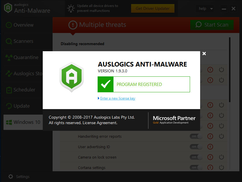 auslogics anti malware key