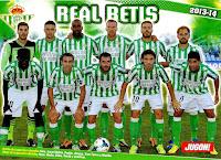 REAL BETIS BALOMPIÉ - Sevilla, España - Temporada 2013-14 - Sara, Jorge Molina, Paulao, Amaya, Xavi Torres y Matilla; Nosa, Nacho, Chica, Verdú y Juanfran - GETAFE C. F. 3 (Pedro León 2 y Colunga) REAL BETIS 1 (Rafa p.p.) - 06/10/2013 - Liga de 1ª División, jornada 8 - Getafe, Madrid, Coliseo Alfonso Pérez - El Betis se clasificó 20º y último en la Liga, descendiendo a 2ª, con Mel, Garrido y Calderón de entrenadores